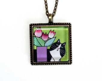 Tuxedo Cat Jewelry/ Glass Pendant in Apple Green with Tulips by Susan Faye