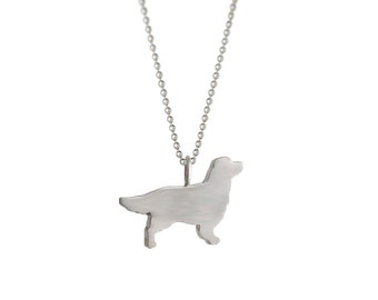 SALE! Love My Golden Retriever Sterling Silver Silhouette Pendant Necklace - Dog Lover Jewelry - For Pet People