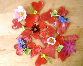 6 Red Heart LOVE Magnets - Six HandMade Free-Cut Painted Ruby Hearts - Valentines Day, Wedding Guest, Bridal Shower Favor - Charity Donation