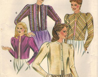 1980s Butterick 4130 Vintage Sewing Pattern Misses Cropped Jackets Size 12 Bust 34