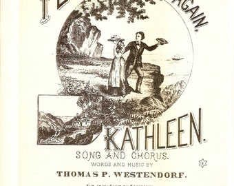 Music Print - Vintage Sheet Music Book Plate - Music Cover Art - Home Again Kathleen - Westendorf - Better Homes Garden - Family Song Book