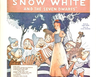 Whistle While You Work - Snow White - Music Print - Vintage Sheet Music Book Plate - Music Cover Art - Better Homes Garden - Family Song Bk