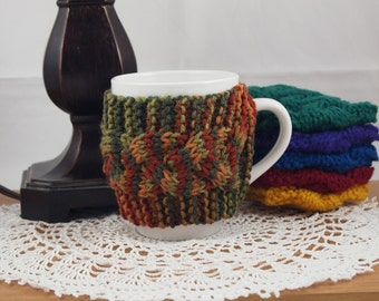 Limited Edition Color Hand Knit Coffee Mug Cozy Cable