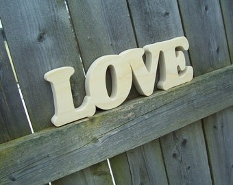 Wood Love Sign Shelf Sign Word Art, Unfinished