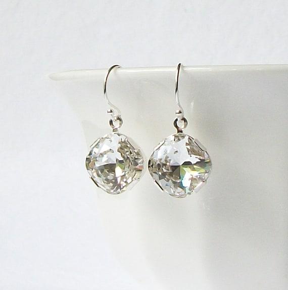 LAST ONE Faux White Diamond Drop Earrings