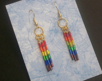 Rainbow Earrings - ROYGIBV - RAINBOW  RAYS - Linear Dangle Earrings