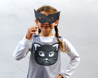 The Cat Dress - Organic Girls Dress with Black and White Kitten - Fall Winter Halloween Eco Friendly Fashion for Kids