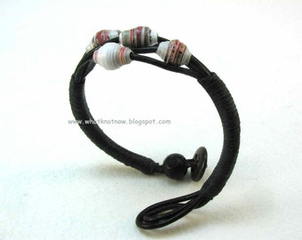 black multi strand leather bracelet with paper beads and button toggle closure 2934