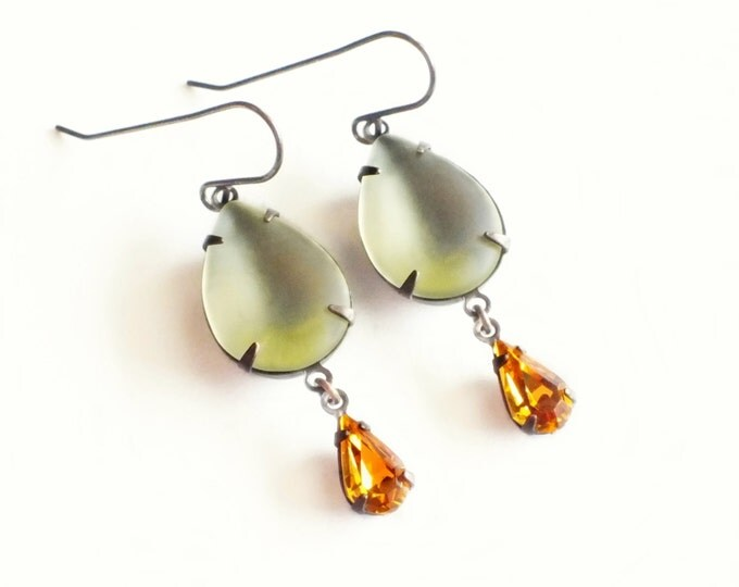 Yellow Rhinestone Earrings Topaz Dangles Matte Glass Vintage Frosted Glass Light Yellow Rhinestone Jewelry