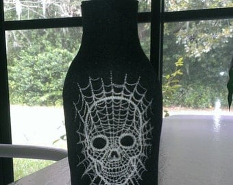 Skull and Web Beer Bottle Jacket