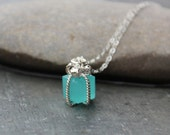 Tiny present necklace- Aqua blue gift box pendant on sterling silver chain - Tiffany Blue - Pacific Opal blue - free shipping USA