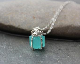 Tiny present necklace- Aqua blue gift box pendant on sterling silver chain - Bright Aqua Blue - Pacific Opal blue - free shipping USA