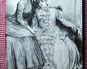 1886 Hanging by a Silk Series. Antique Print of Sisters. Mounted and Ready to Hang