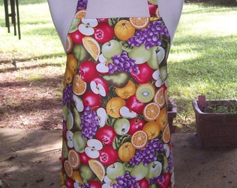 Women's Full Apron, Fresh Fruit Apron, Kitchen Apron, Bib Apron, Pocket Apron, Hostess Gift, Apple Apron, Teacher Gift, Bridal Shower Gift