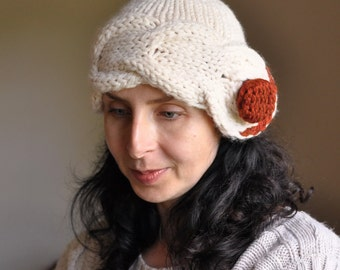 Hand knit cloche beanie hat with huge button chunky cable winter fashion - Freezebaby Hat natural cream or CHOOSE YOUR COLOR Gift under 50