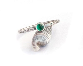 Handmade Emerald Stack Ring | Hammered Texture | Oxidized | Sterling Silver | for Women | May Birthstone | Size 8