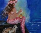 "Mermaid Art Print Little Mermaid Girl Baby Sea Lion Nursery Art Little Girls Room Decor "" Little Mermaids Buddy"" Leslie Allen Fine Art"