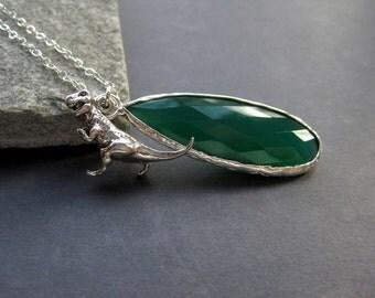Dinosaur Necklace - Sterling Silver Dinosaur Necklace - Green Onyx Necklace - Paleontologist Gift