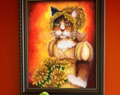 Calico Cat Art, Cat in Regency Dress, Chrysanthemums 8x10 Fine Art Print