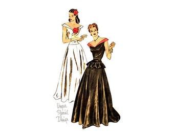1940s Vogue Special Design S-4601, Evening Gown Pattern, Low Neckline Peplum Top, Long Flared Skirt, Drop Waist Dress Unused, Vintage