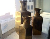 The Vintage Set of Three Gold Brass Miniature Vases