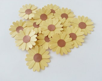 24 Cottage Chic Large SUNFLOWER Paper Punch Die Cut Embellishments