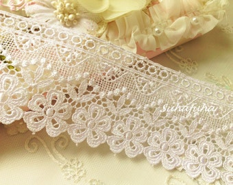 "WHITE Vintage Inspired Victorian Venise Bridal Lace Trim 1 yd x 2.25 "" wide Fabric Journal"