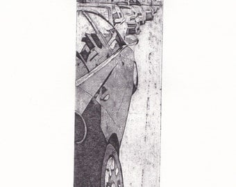 Parked Again (Original Collagraph Hand Pulled Artist Print)