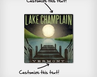 FREE Customization -- Moonrise  LAKE CHAMPLAIN Gallery Wrapped Stretched Canvas Wall Art ready-to-hang