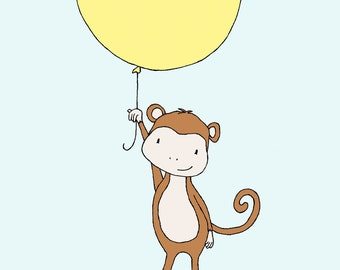 Monkey Nursery Art -- Monkey Balloon -- Monkey Nursery Art Print -- Nursery Decor, Children Art, Kids Wall Art