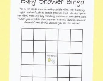 Baby Shower Bingo - Baby Shower Game - Your Shower is a Winner! - Onesie Baby Shower Theme