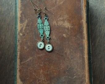 Double Verdigris Vintage Button Earrings