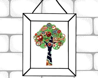 Upcycled Tree Collage 5x7 Reproduction Art Print  - Red, Green, White and Black Apple Jacks Cereal Box Tree -  Kitchen Decor