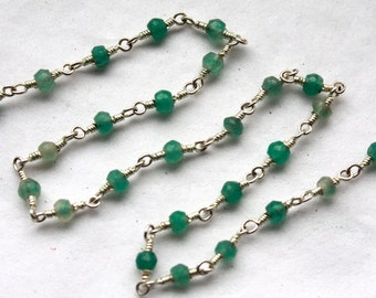 6.5 Feet Chrysoprase Gems with Sterling Silver Wire Chain // Beaded Gemstone Jewelry Chain // Unfinished Chain