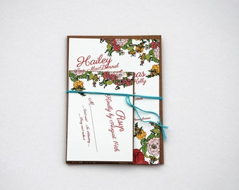 The Mara Collection - Garden Party Floral Wedding Invitation Set in Pink, Green and Yellow with Kraft or Cream Envelopes - SAMPLE