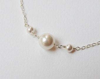 Three Pearl Necklace - Sterling Silver Swarovski Pearl Necklace Bridal Accesory Wedding Party Bridesmaids Maid of Honor Gift