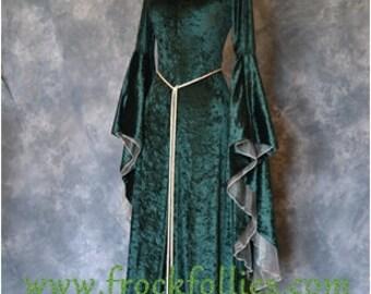 "Elvish Dress, Medieval Gown, Gothic Dress, Pagan Dress, Pre-Raphaelite Gown, Medieval Dress ""Finola"""