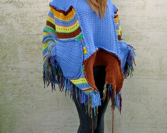 Upcycled Sky Blue Stripey Hoody Fringed Cape Poncho              Made in England UK