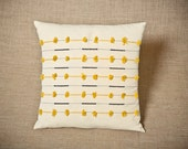 Sale - Yellow Interrupted Script - Handwoven cushion cover