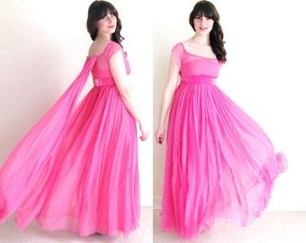 Pink Prom Dress / 60s Chiffon Dress / Grecian Goddess Dress