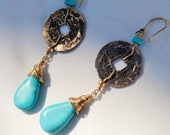 Turquoise Handmade Dangle Earrings, Vintage Chinese Coin