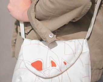 Crossbody Bag, Small Messenger Bag, Copper Orange Metallic Screenprinted Fabric