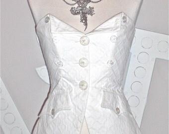 CHRISTIAN LACROIX Vintage Bazar Strapless Peplum Bustier White Cotton Top - AUTHENTIC -