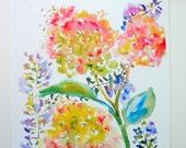 Hydrangeas & Purple Spray Watercolor Flowers, Fine Art Print, 8x10, 5x7