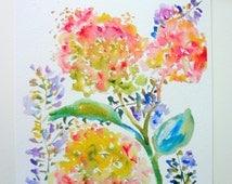 Hydrangeas & Purple Spray Watercolor Flowers, Fine Art Print, 8x10