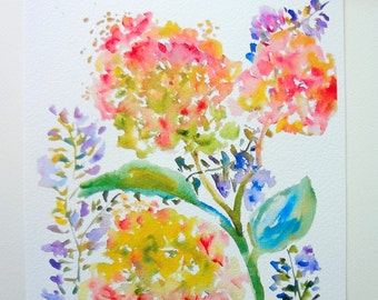 Hydrangeas & Purple Spray Watercolor Flowers, Fine Art Print, 8x10, 5x7