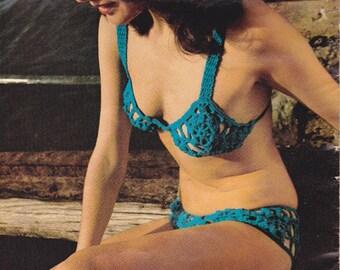 1970s Boho Crochet Patterns Book 9 Original Australian Vintage Designs for Women BIKINIS DRESS TOPS Villawool No 6