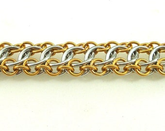 Silver and Gold Chainmaille Bracelet, Aluminum, Zeela aka On The Edge Pattern