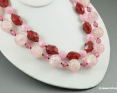 Light Pink & Cranberry Necklace Chunky Plastic Beads