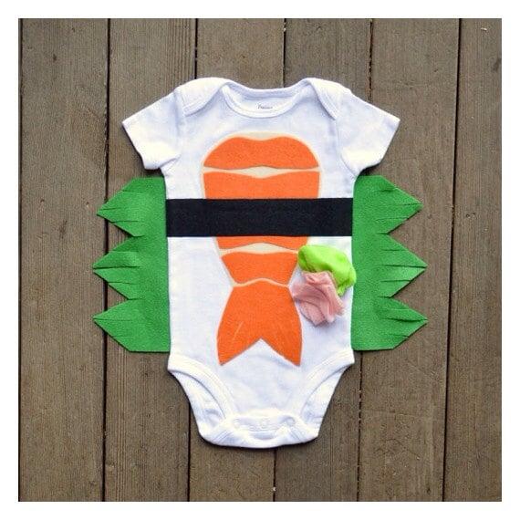 Funny Baby Bodysuit, Sushi Costume, Baby Costume, Tuna and Shrimp Sushi Costume, Funny Baby Costume, Baby Geekery, Food Costume, Sushi Onsie